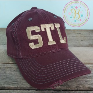 Burgundy Distressed STL Hat
